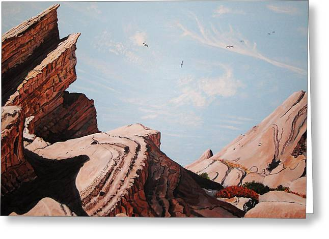 Formation Drawings Greeting Cards - Vasquez Rocks 6 Greeting Card by Stephen Ponting