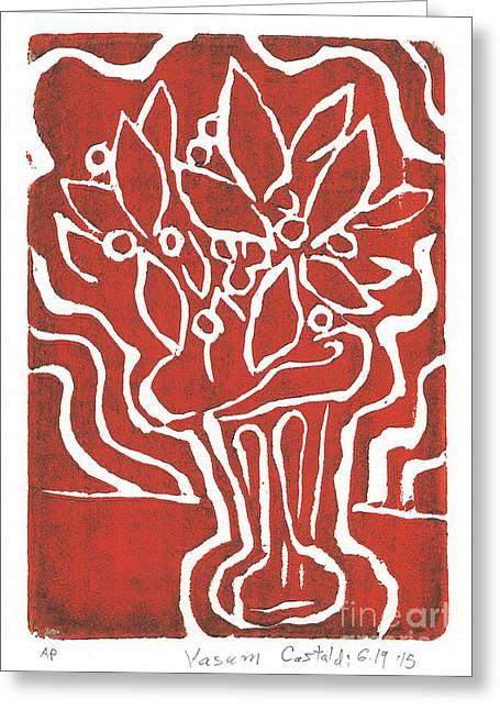 Printmaking Greeting Cards - Vasum Red Greeting Card by Phillip Castaldi