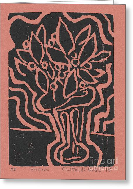 Printmaking Greeting Cards - Vasum Red Greeting Card by Phillip Castaldi