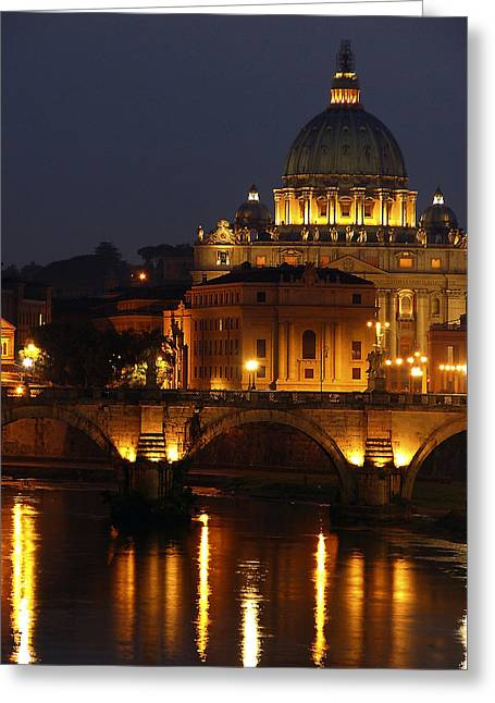Vatican At Night Greeting Card by Don Wolf