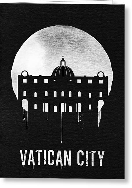 Vatican City Landmark Black Greeting Card by Naxart Studio