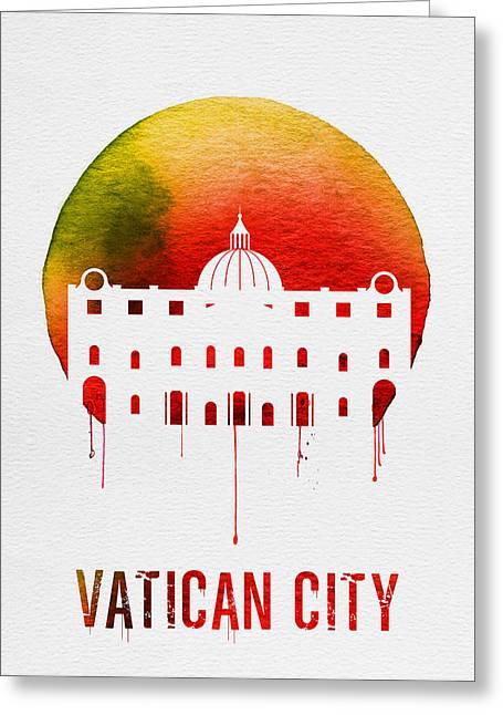Vatican City Landmark Red Greeting Card by Naxart Studio