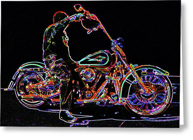 Vato Greeting Cards - Vato n Harley Aglow Greeting Card by Kimberley Joy Ferren