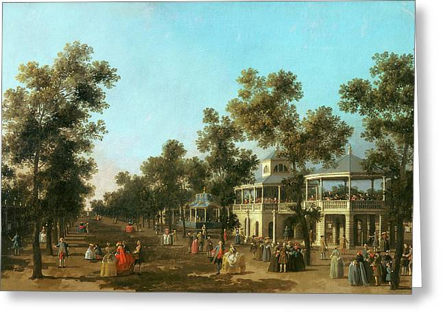 1768 Greeting Cards - Vauxhall Gardens the Grand Walk Greeting Card by Canaletto