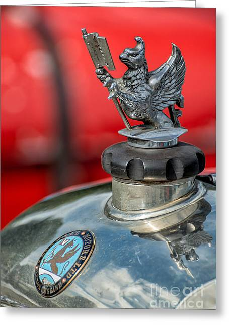 Radiator Cap Greeting Cards - Vauxhall Griffin Motif Greeting Card by Adrian Evans