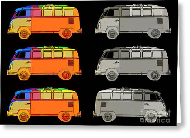 Surfer Art Photographs Greeting Cards - VDub Surfer Bus Series Greeting Card by Edward Fielding