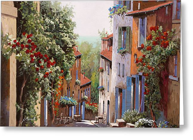vecchia Cagnes Greeting Card by Guido Borelli