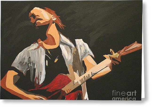 Pearl Jam Greeting Cards - Vedder Greeting Card by Steven Dopka