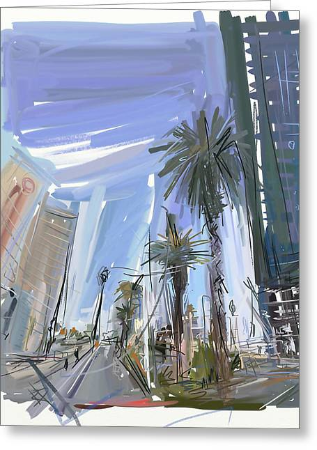 Vegas Baby Greeting Card by Russell Pierce