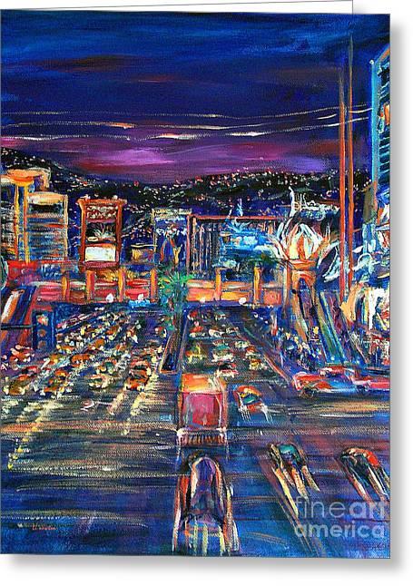 Li Newton Greeting Cards - Vegas Lights Greeting Card by Li Newton