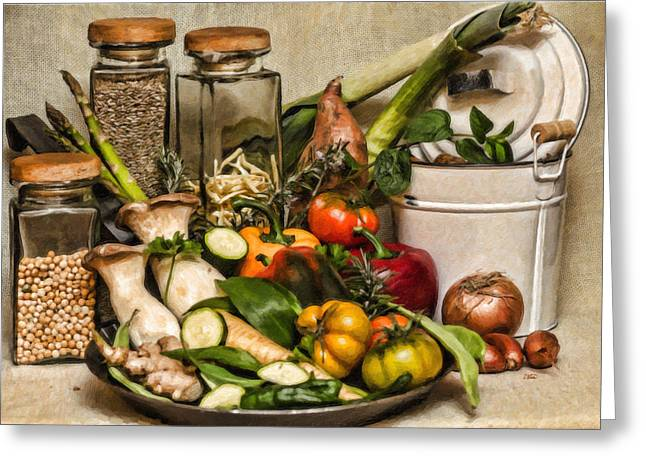 Noodles Paintings Greeting Cards - Vegetable and Canisters Still Life STL697793 Greeting Card by Dean Wittle
