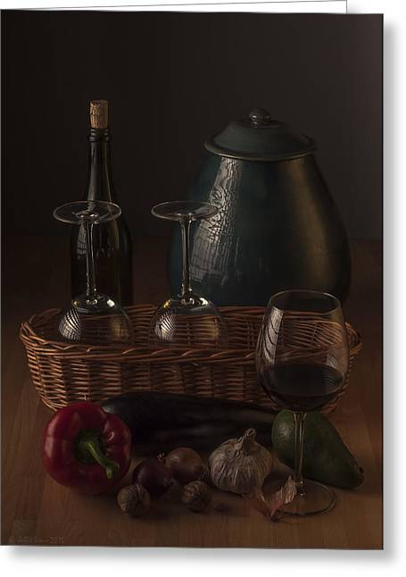 Interior Still Life Digital Greeting Cards - Vegetables and Wine in Low Key Still Life Composition Greeting Card by Julis Simo