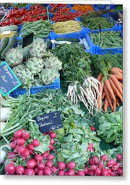 European Markets Greeting Cards - Vegetables at German Market Greeting Card by Carol Groenen