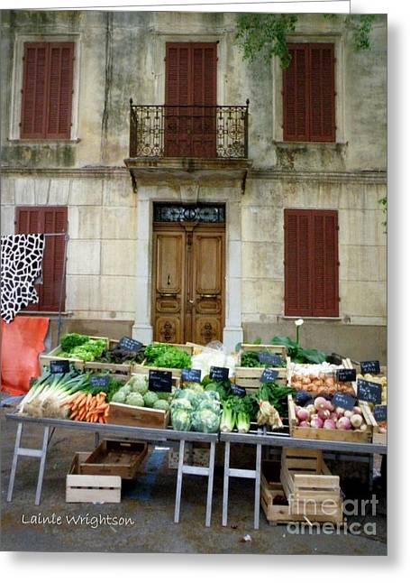 Provence Village Greeting Cards - Vegetables for Sale Greeting Card by Lainie Wrightson