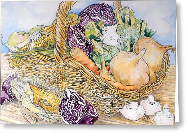 Fresh Green Drawings Greeting Cards - Vegetables in a Basket Greeting Card by Joan Thewsey