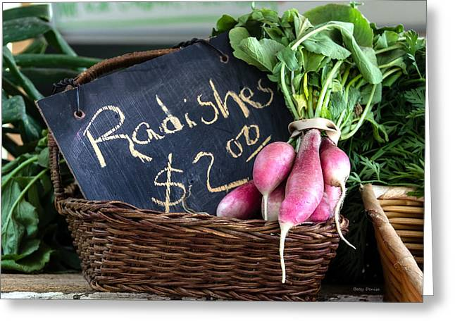 Farmstand Greeting Cards - Vegetables Radishes Greeting Card by Betty Denise