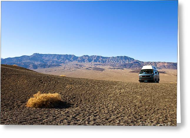 Calif Greeting Cards - Vehicle in Desert Landscape Greeting Card by David Buffington