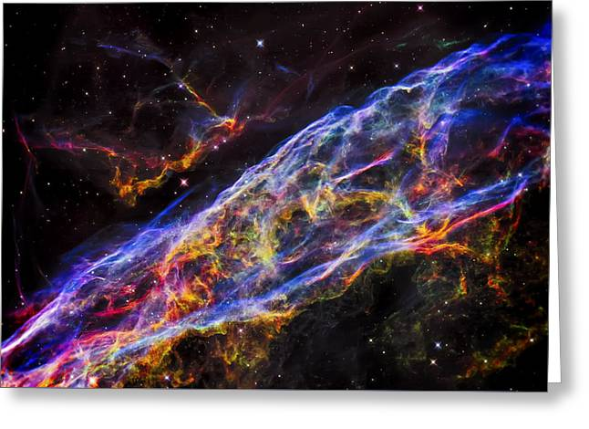 Veil Nebula - Rainbow Supernova  Greeting Card by The Vault - Jennifer Rondinelli Reilly