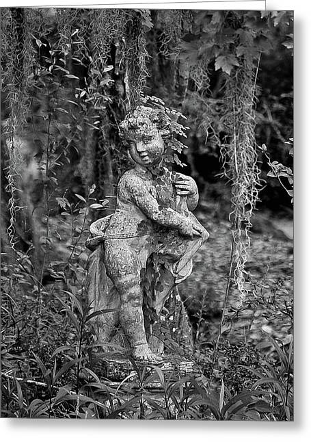 Historic Statue Digital Greeting Cards - Veil of Vines Black and White Greeting Card by DigiArt Diaries by Vicky B Fuller