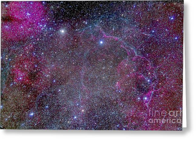 Stellar Remnant Greeting Cards - Vela Supernova Remnant In The Center Greeting Card by Alan Dyer