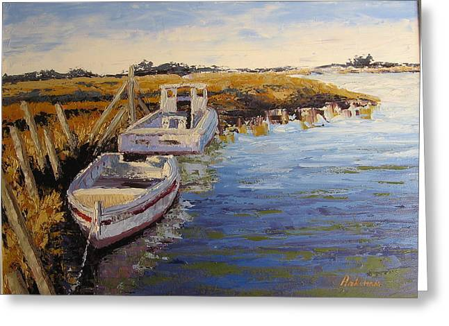 Pallet Knife Greeting Cards - Veldrift Boats Greeting Card by Yvonne Ankerman