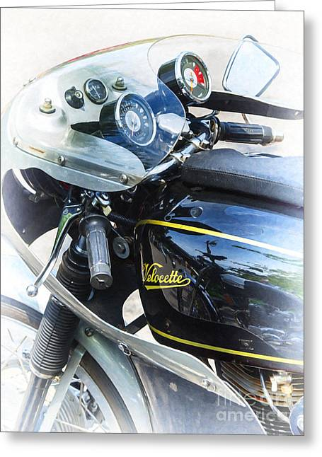 Color Colorful Greeting Cards - Velocette Greeting Card by Tim Gainey