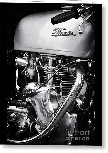 Velocette Venom Monochrome Greeting Card by Tim Gainey