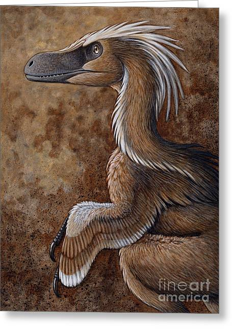 Illustration Technique Greeting Cards - Velociraptor, A Dromaeosaurid Dinosaur Greeting Card by H. Kyoht Luterman