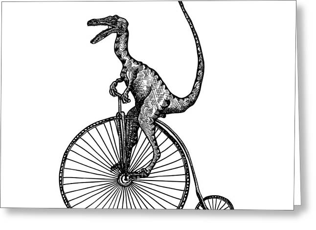 Bike Drawings Greeting Cards - VELOciraptor Greeting Card by Karl Addison