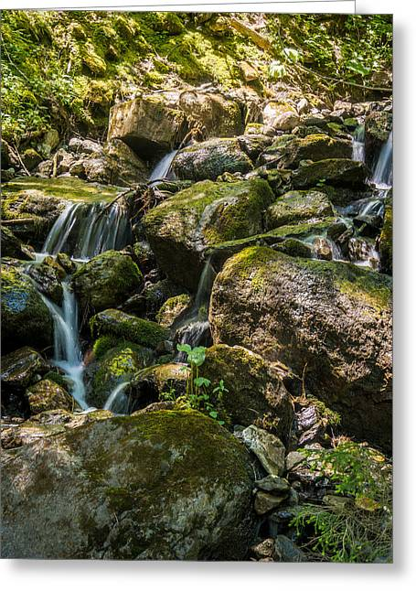 Geology Photographs Greeting Cards - Velvet Water Amongst Mossy Rocks Greeting Card by Justin Woodhouse