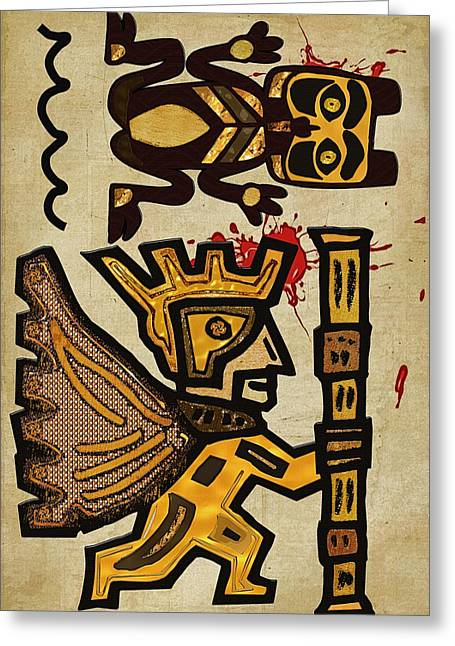 Sacrificial Mixed Media Greeting Cards - Vemana Kiik Mayan Sacrifice Folk Art Greeting Card by Sharon and Renee Lozen