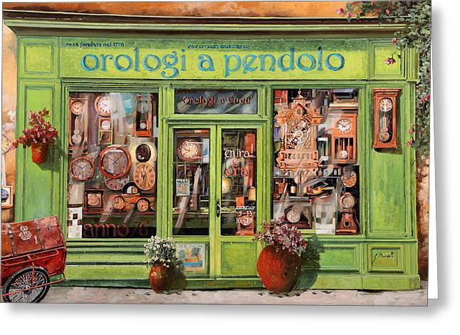 Vendita Di Orologi A Dondolo Greeting Card by Guido Borelli