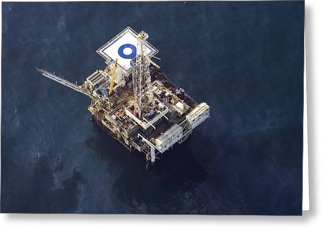 Sea Platform Greeting Cards - Veneco Oil Platform Off The Gaviota Greeting Card by Rich Reid