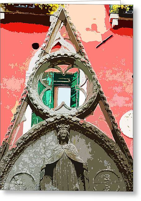 Wooden Sculpture Digital Art Greeting Cards - Venetian Arch Greeting Card by Mindy Newman