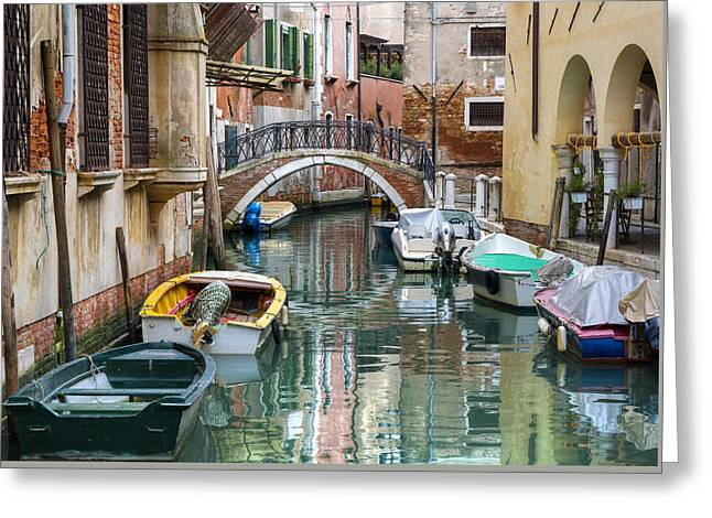 View Pyrography Greeting Cards - Venetian canal and boats Greeting Card by Riccardo Zimmitti