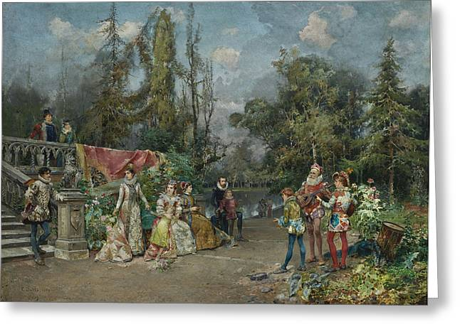 Cesare Greeting Cards - Venetian Court Minstrel Scene Greeting Card by Celestial Images