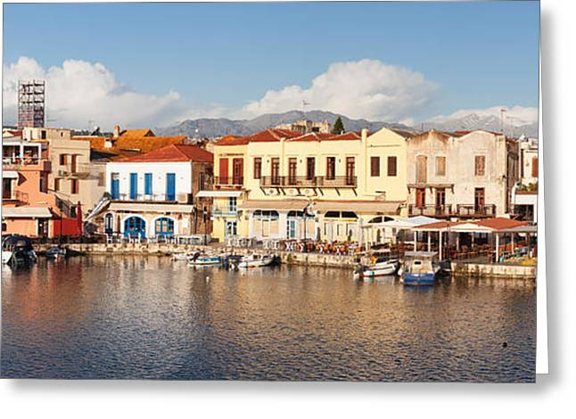 Crete Greeting Cards - Venetian Harbour, Rethymno, Crete Greeting Card by Panoramic Images