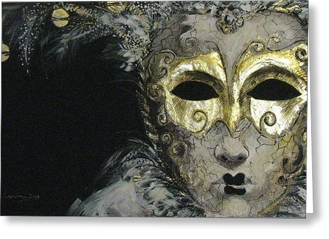 White Cloth Greeting Cards - Venetian Mask Greeting Card by Luciana Toma