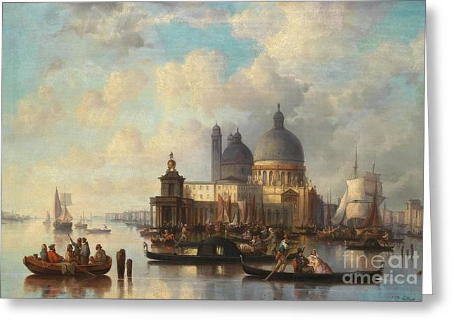 Josef Greeting Cards - Venetian Scene with Santa Maria della Salute Greeting Card by Celestial Images