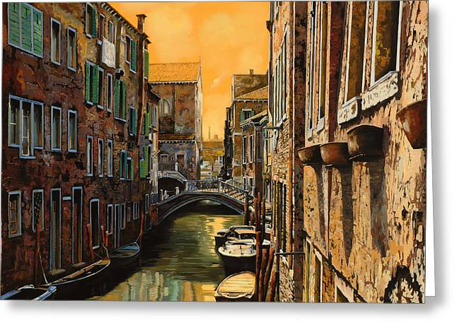 Orange Greeting Cards - Venezia Al Tramonto Greeting Card by Guido Borelli