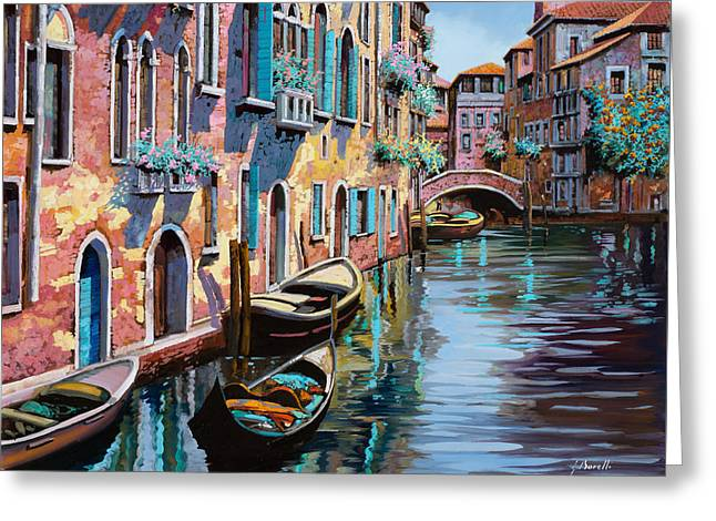 Architecture Greeting Cards - Venezia In Rosa Greeting Card by Guido Borelli