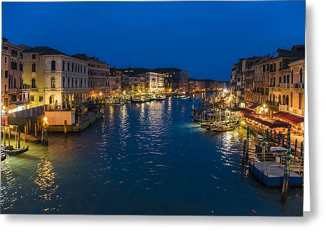 Famous Bridge Greeting Cards - Venice and the Grand Canal in the evening Greeting Card by Riccardo Zimmitti