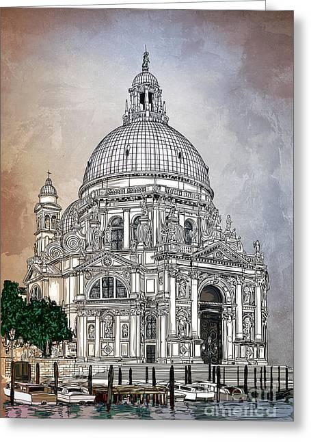 Canal Drawings Greeting Cards - Venice  Greeting Card by Andrzej Szczerski