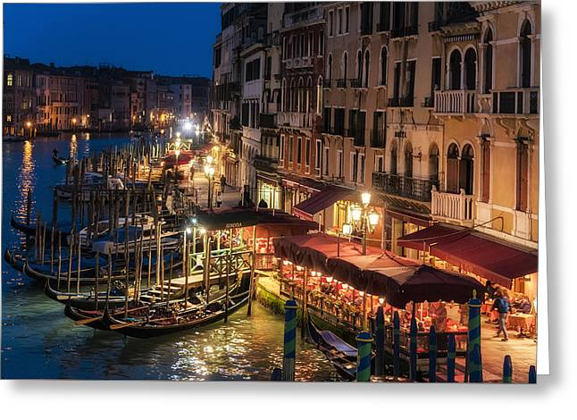 European Restaurant Pyrography Greeting Cards - Venice at dusk with gondolas Greeting Card by Riccardo Zimmitti