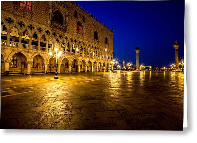 Night Lamp Greeting Cards - Venice at Night Greeting Card by Lev Kaytsner