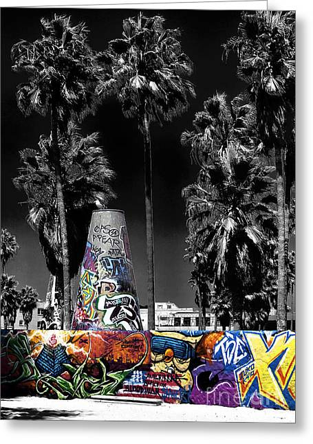 Venice Beach Palms Greeting Cards - Venice Beach Graffiti Fusion Greeting Card by John Rizzuto