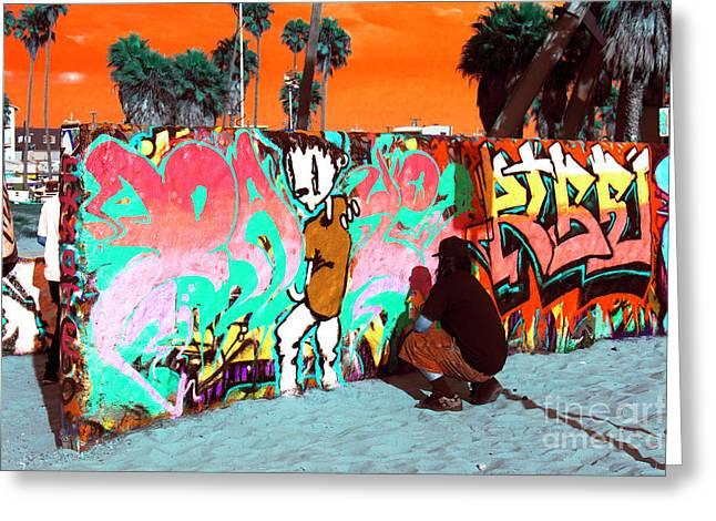 California Beach Art Greeting Cards - Venice Beach Graffiti Pop Art Greeting Card by John Rizzuto
