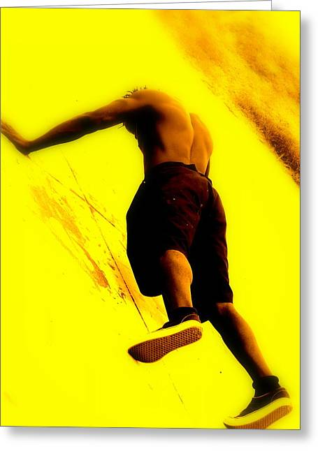 Athletic Digital Greeting Cards - Venice Beach Muscle Builder Greeting Card by Funkpix Photo Hunter