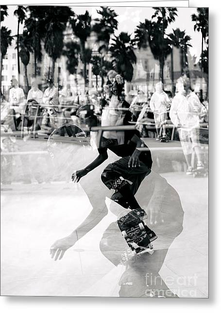 California Beach Art Greeting Cards - Venice Beach Skateboard Haze Greeting Card by John Rizzuto