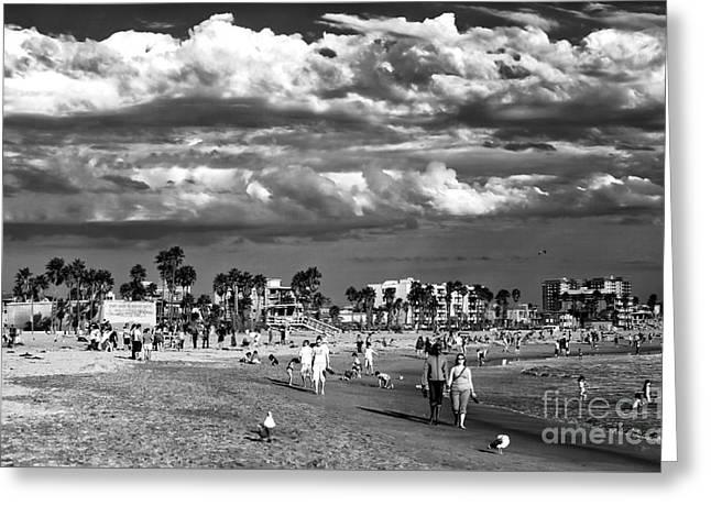 Venice Beach Walk Greeting Card by John Rizzuto